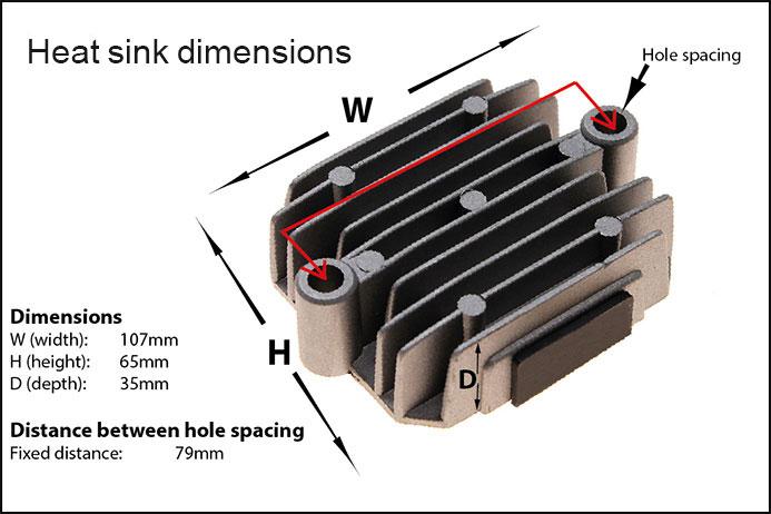 regulator rectifier for honda cbx cbxf cb cbc cbsc rr19 heat sync dimensions